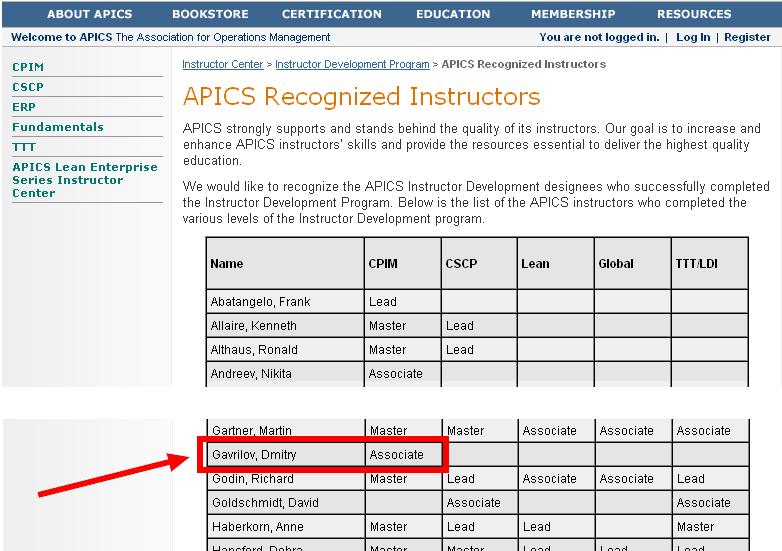 Подтверждение на сайте APICS